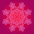 Yoga Oriental Mandala Motif Round Lase Pattern On The Pink Background, Like Snowflake Or Mehndi Paint In Red And Blue stock illustration