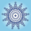 Yoga Oriental Mandala Motif Round Lase Pattern On The Blue Background, Like Snowflake Or Mehndi Paint In Light Color With Watercolor Element On Backdrop. What Is Karma stock illustration