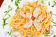 Pasta With Chicken Meat And Greens Tasty Dish stock photo