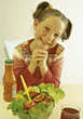 Stock Photo : People Eating  Stock Photo: salad raw vegetables kid