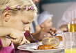 Stock Photo : People Eating  Stock Photo: dinner girls food children