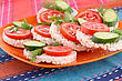 Puffed Rice Crackers Sandwiches With Vegetables On Plate stock photo