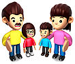 Business People Queue With The Happy A Family. 3D Family Character stock illustration