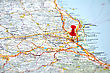 Italy Red Point On The Italy Map stock photography