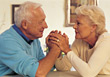 Older Senior Couple Holding Hands, Support stock photo