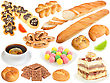 Stock Photo : Macro Stock Photo: Set Of Fresh Bread And Sweets Close-up Studio Photography