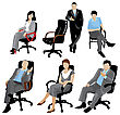 Business People Set Of Business People Silhouettes stock illustration