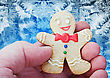 Tradition Smiling Gingerbread Man In The Hand Against Frost stock photo