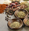 Spices In Wooden Bowls,Close Up - stock photography
