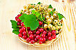 Stock Photo : Basket Stock Image: Sprigs Of Red And White Currants With Green Leaves In A Wicker Tray On A Light Wooden Board