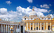 Italy St. Peter's Basilica, St. Peter's Square, Vatican City. Panorama stock photography