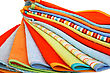 Stock Photo : Fluffy Stock Image: Stack Of Colorful Towels On White Background.