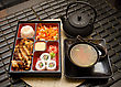 Rice Sushi Lunch With Soup Salad Tea And Sauce stock image