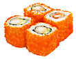 Stock Photo : Roll Stock Photo: Sushi Set - Four Rolls With Red Caviar Isolated