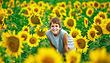 Stock Photo : Field Stock Photo: Teenager in a Sunflower Field