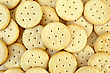Texture Of The Yellow Round Crackers stock photo