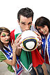 Three Italian Football Supporters stock image