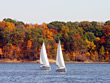 Stock Photo : Lake Stock Image: Two Sailboats on the Lake