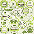 Set Of Eco Labels And Vegetarian Design Elements, Fully Editable Eps8 File