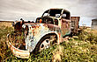 Stock Photo : Grill Stock Image: Vintage Truck Abandoned Saskatchewan Field Canada