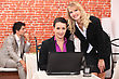 Business People & Computer Women Using A Laptop In A Restaurant stock image