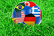 Team World Cup Football With Nations Flags stock photo