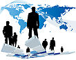 Worldwide Business Theme With Silhouettes Of Man And Map. Vector Illustration.