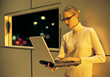Young Blonde Geek with Laptop - stock photography