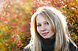 Young Cute Girl With Long Dark Hairs. Fall. Autumn. Outdoor Session stock image